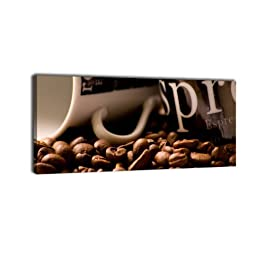 Leinwandbild Panorama Nr. 12 Kaffeebohnen 100x40cm, Keilrahmenbild, Bild auf Leinwand, Kunstdruck Kaffee Coffee Pause