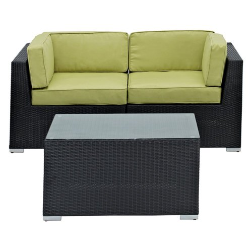 LexMod Camfora Outdoor Wicker Patio 3-Piece Espresso Sofa Set with Peridot Cushions