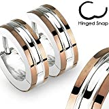 Pair of 316L Stainless Steel 2 Tone Hoop Earrings with Coffee IP Edges; Comes With Free Gift Box