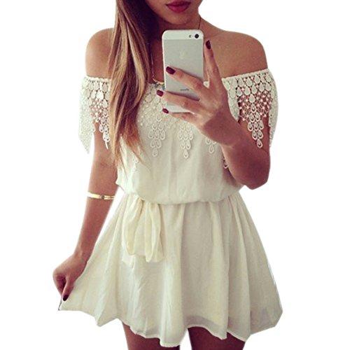 Towallmark(Tm)Women Lace Chiffon Sleeveless Evening Party Club Mini Dress (S)