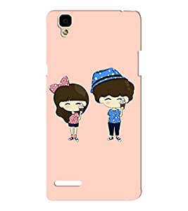 EPICCASE Couple with icecream Mobile Back Case Cover For Oppo F1 (Designer Case)