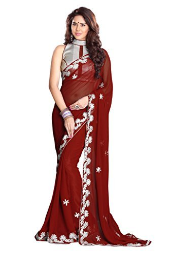 d333fd00c0 Sourbh Sarees Faux Georgette Best Sarees (with color options) for Women  Party Wear,
