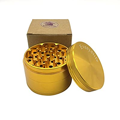 Herb Grinder 4pc by Everydlife , Large Tobacco Spice Herb Weed Grinder Four Piece with Pollen Catcher , 2.5 Inches Premium Grade Aluminum from Everydlife