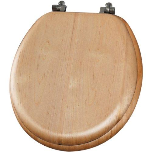 Mayfair 9601NI 418 Natural Reflections Wood Veneer Toilet Seat with Brushed-Nickel Hinges, Round, Maple