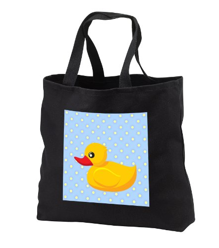 Rubber Ducky - Light Blue Polka Dots - Art For Children - Black Tote Bag Jumbo 20W X 15H X 5D front-1036376