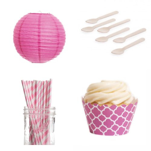 Dress My Cupcake Dmc432625 Dessert Table Party Kit With Lanterns And Mini Wrappers, Cherry Blossom Spanish Tile Quatrefoil front-505373