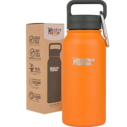 Healthy Human 16 oz Water Bottle - Cold 24 Hrs, Hot 12 Hrs. 4 Sizes & 12 Colors. Double Walled Vacuum Insulated Stainless Steel Thermos Flask with Carabiner & Hydro Guide. Color: Orange Sherbert (16oz Coffee Cups 100 compare prices)
