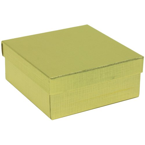 3 1/2 x 3 1/2 x 1 1/2 Gold Line Gift Box (Jewelry Box) - Sold individually