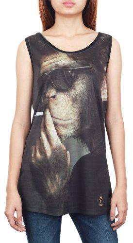 GibGae Women's Smoking Chimpanzee Monkey Animal Tank Top Vest Size L