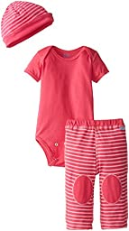 i play. Unisex Baby Organic Bodysuit Cap and Pant Sleep Set, Fuchsia, Small/3-6 Months