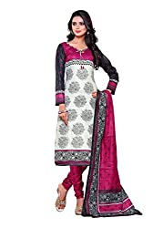 SayShopp Fashion Women's Unstitched Regular Wear Cotton Printed Salwar Suit Dress Material (ZDM-29_White,Black,Pink_Free Size)