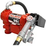 Fill-Rite FR610G Fuel Transfer Pump, Telescoping Suction Pipe, 12' Delivery Hose, Manual Release Nozzle - 115 Volt, 15 GPM