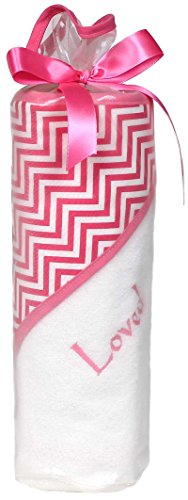 Raindrops Loved Hooded Towel Set, Cotton Candy Chevron, Bright Pink