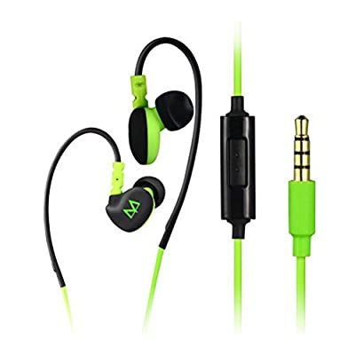 CTC Tech ®MAYA S6 Clear In Ear Hook Sports Earphones with In-Line Microphone for Running , Jogging , Cycling , Marathons , Athletic Recreation Waterproof Running Headset with Mic for Iphone 6,6 plus Samsung Galaxy S5 Active , Note 4 and many more!