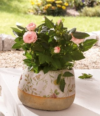 Porcelain Flower Pot – Floral Patterned Flower Pot, Medium Height Product SKU: PL226840