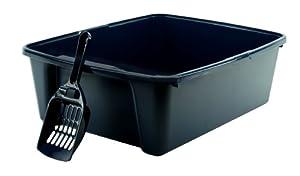 IRIS Cat Litter Pan with Scoop, Large, Navy
