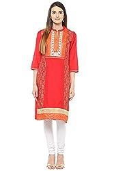 Rangmanch by Pantaloons Women's Straight Kurta ( 205000005639883, Red, Medium)