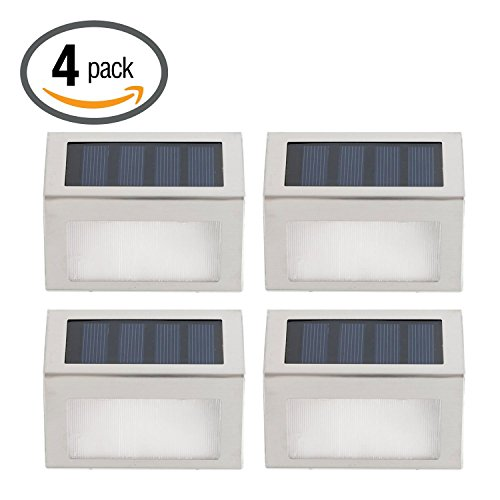[Pack of 4]eSavebulbs Solar Stair Step Light,Outdoor Stainless Steel Led Solar Light Stairs Deck Patio Wall Lamp for Modern Fixture Hallway Garden Stair Fence