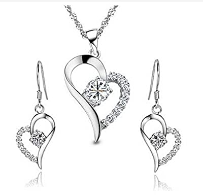 ladies swarovski element sterling Silver white crystal Heart Shape Set Earring and Pendant Necklace .for women girls