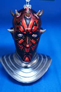Star Wars Darth Maul Bust Blown Glass Figurine Christmas Ornament w Tag
