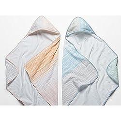 Coyuchi Organic Baby Hooded Towel - Sunset Stripe Cool Blue