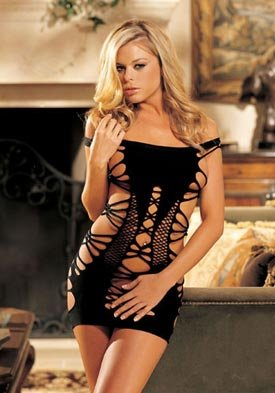 Wild Strappy Stretch Knit Chemise - Black-One Size