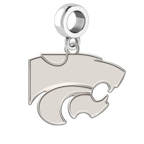 Kansas State Wildcats Natural Finish Logo Dangle Charm Fits All European Style Charm Bracelets