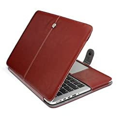 "CABLESETCâ""¢ Royal PU Leather Sleeve Bag Case Cover For (Apple Macbook Air 11.6 A1465 A1370, Brown)"