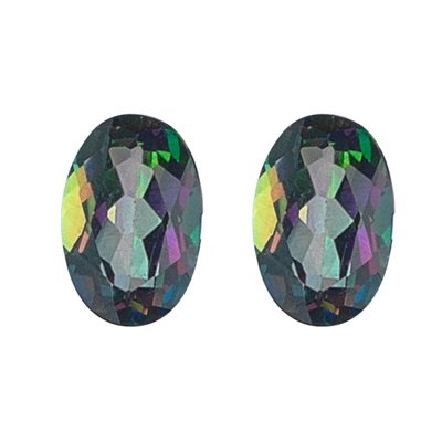 3.25 Cts of AAA 8x6 mm Oval Pair Matching Loose Mystic Green Topaz ( 2 pcs set ) Gemstones