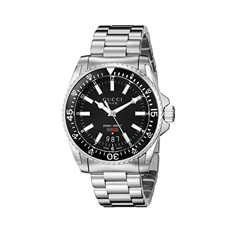 Gucci Dive Collection Men's Quartz Watch with Black Dial Analogue Display and Silver Stainless Steel Bracelet...