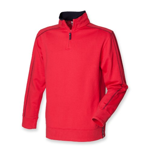 Men's Zip Neck Peached Finish D-Ring Sweatshirt Colour=Red/Navy Size=Large