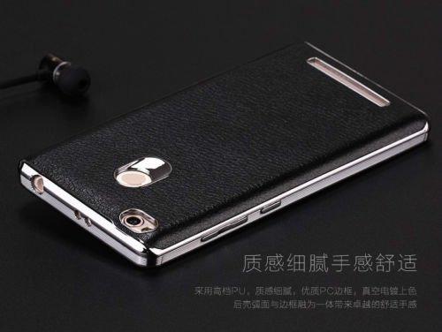 CASECART Luxury Chrome Leather+PC Case Ultra Thin Back Cover Case For Xiaomi Redmi 3S PRIME - BLACK