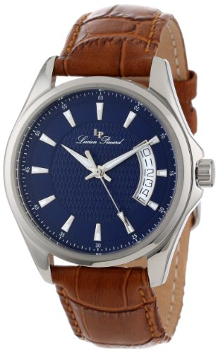 Lucien Piccard Men's 98660-03-BRW Excalibur Blue Textured Dial Brown Leather Watch