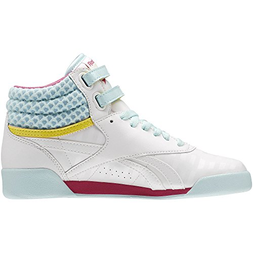 Fast Delivery Reebok Freestyle Hi v63067 White / Charged Pink-Cool Breeze   Reebok   (Kids)   2016