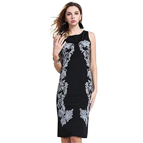 ou-grid-vestito-linea-ad-a-senza-maniche-donna-nero-xx-large