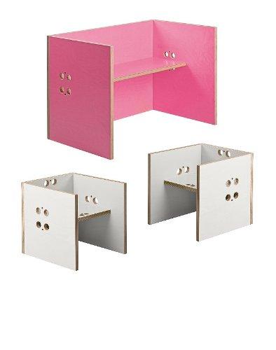 Kindersitzgruppe – Kindermöbel – 2 Kinderstühle / Hocker + 1 Kindertisch / Bank. Tisch pink, Farbe Stühle frei wählbar. (Stühle / Hocker weiß, Tisch / Bank pink)