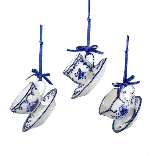 Kurt Adler Porcelain Delft Blue Cup and Saucer Ornament