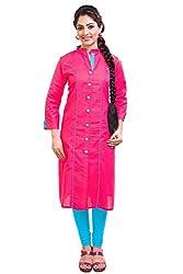 Giriraj Fashion Women's Pink Cotton Kurti
