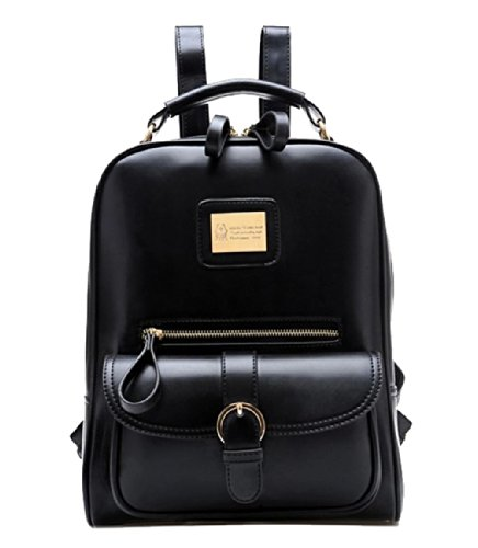 Tinksky® Vintage Retro British Wind Shoulders Bag Fashion Girl's Student Backpack School Bag (Black)