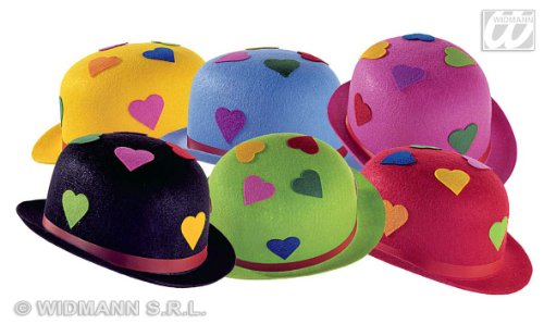 FELT HEART BOWLER HATS 6 COLORS ASS. [Spielzeug]