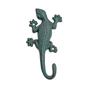 Verdigris Wall Mountable Cast Iron Lizard Garden Ornament Accessory Hook by Gardens2You
