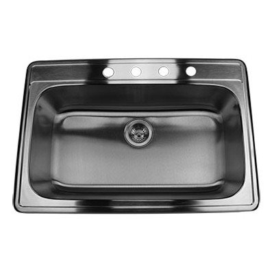 Nantucket Sinks NS3322-9 33-Inch Drop-In Stainless Steel Single Bowl Kitchen Sink
