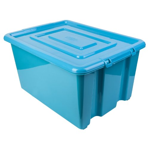 New Blue Whitefurze Plastic Stackable Container Medium Storage Box With Lid 32l