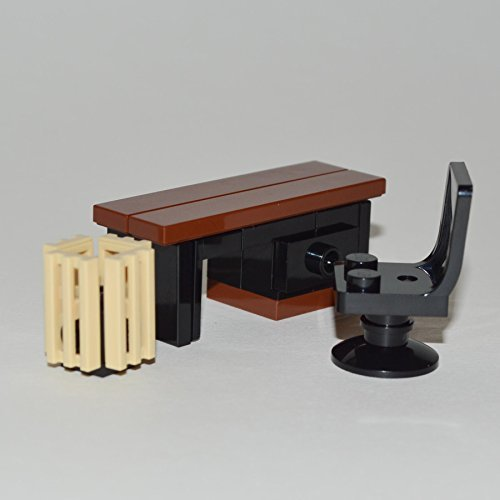 LEGO Furniture: Custom Office Desk Set w/ Desk & Chair + Waste Basket