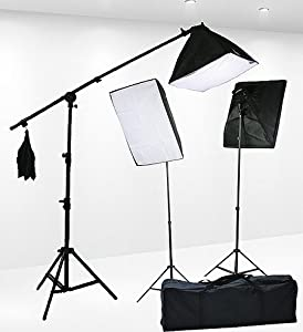 Fancierstudio 2400 Watt Professional Lighting Kit With Three Softbox Lights, Boom Arm Hairlight Softbox, Lighting Kit for Studio Photography and Video Lighting (9004SB2)