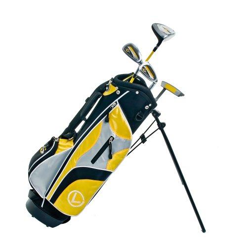 Longridge - Set 4 mazze da golf Junior, per bambini dai 4 anni in su, per destrimani, colore: Nero/Giallo