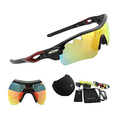 Duco Bike Polarisierte Fahrradbrillen Radfahren Sportbrillen Sonnenbrillen Goggles Sunglasses 0025 (Schwarz)