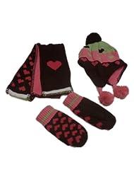 Jumping Beans Girls Fleece Stripe Hearts Flower Knit Scarf Mittens Hat