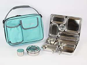 PlanetBox Rover Lunchbox - Aqua Carry Bag with Fairies Magnets