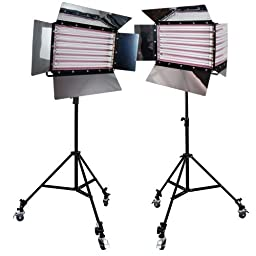 Limostudio Photography Photo Video Studio 3300W Digital Light Fluorescent 6-Bank Barndoor Light Panel Kit with 6pcs Caster Wheels, AGG1215